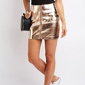 Metallic Zip Up Rose Gold Charlotte Russe Skirt